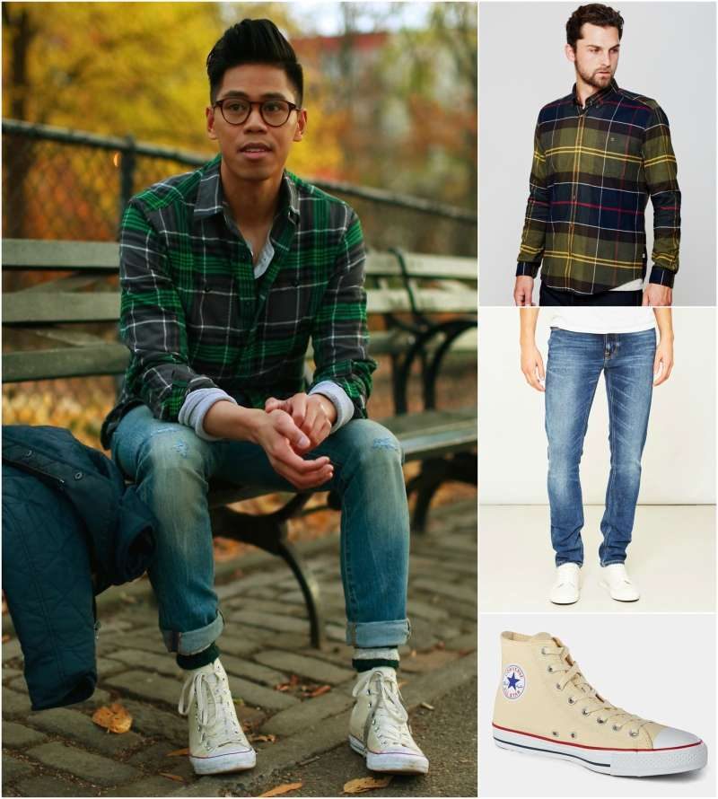 how to wear a check plaid flannel lumberjack shirt look