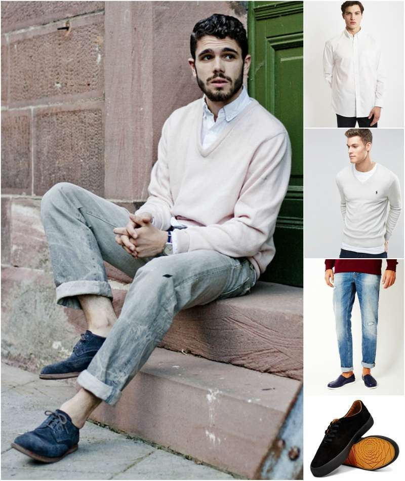 how-to-wear-a-cream-white-v-neck-jumper
