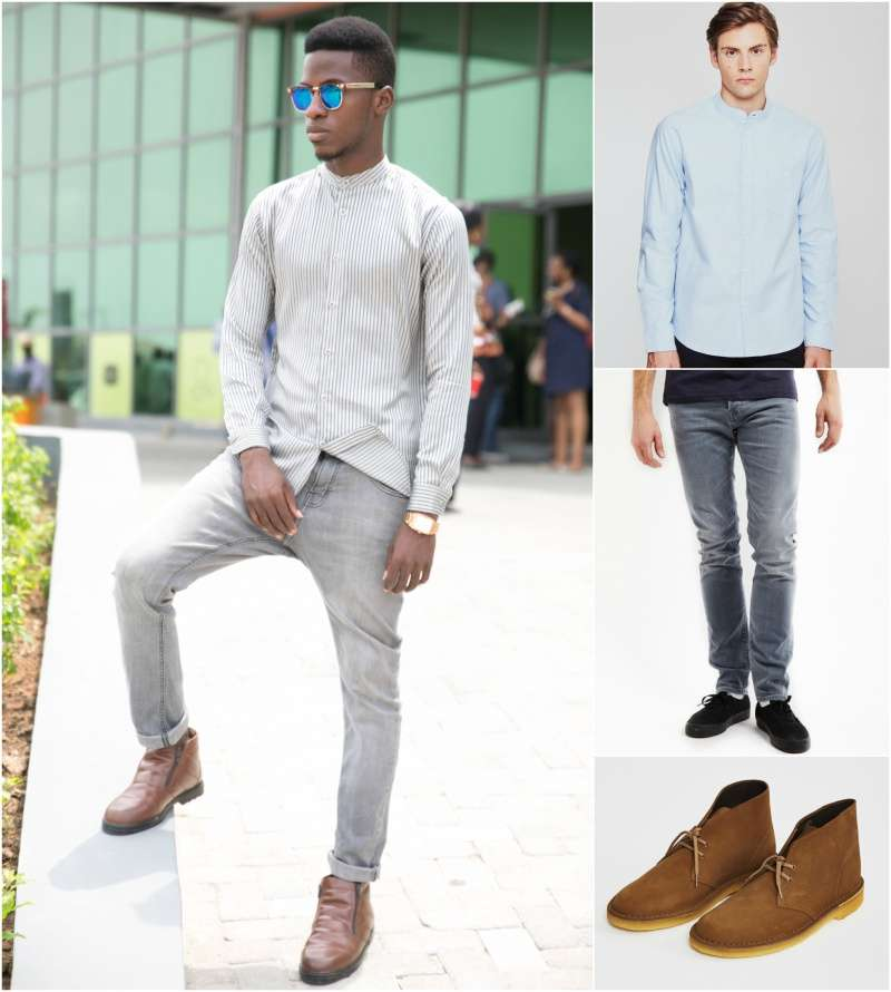 how to wear a grandad collar mandarin shirt men look