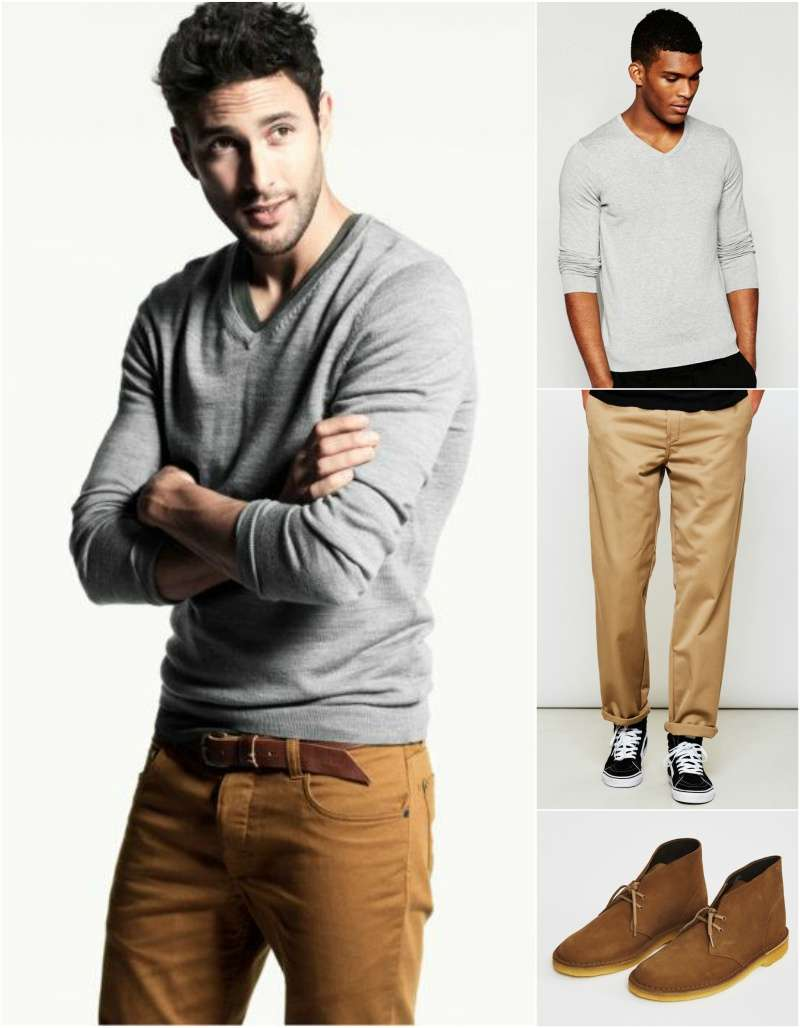 how-to-wear-a-grey-v-neck-jumper-men-casual-look