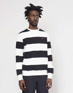 huf catalina stripe crew fleece black