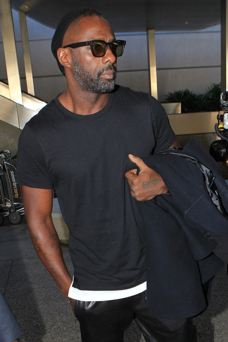 idris elba black t shirt black sunglasses black beanie black coat black trousers mens street style