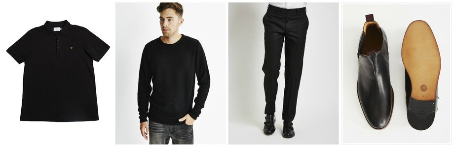 Farah Vintage Polo Shirt |Only & Sons Jumper | The Idle Man Trousers | Hudson Chelsea Boots
