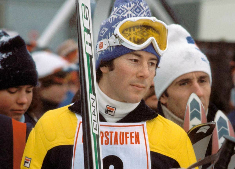 ingemar stenmark wearing famous yellow and blue fila jacket