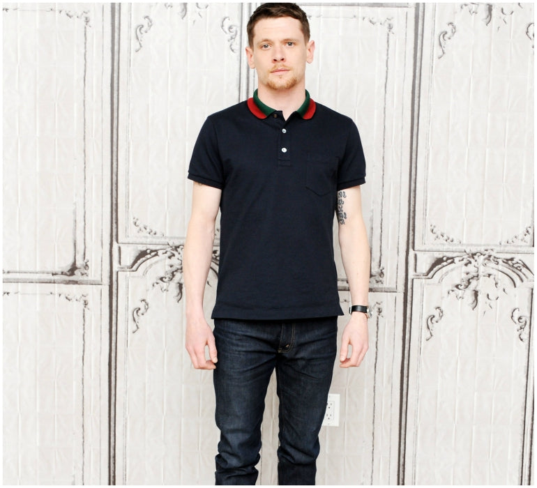 jack oconnell polo shirt dark jeans mens style