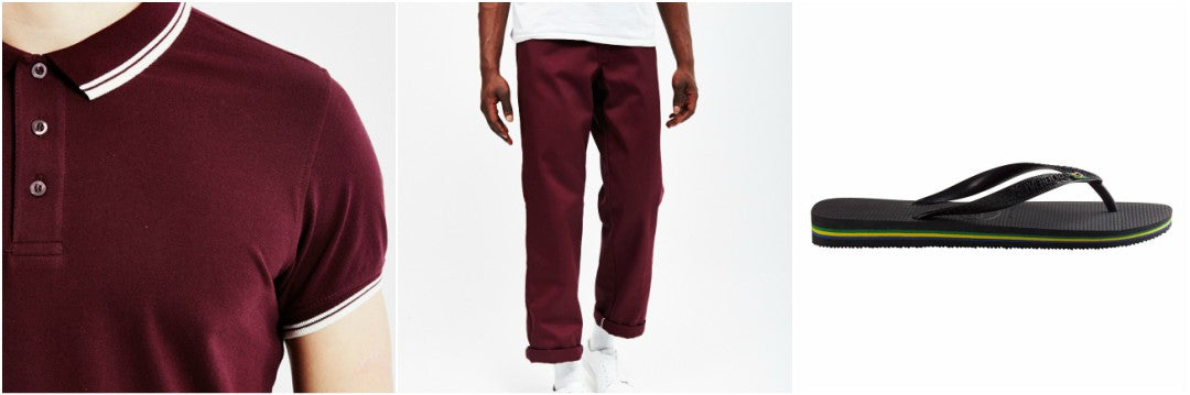 mens red polo shirt red chinos outfit grid