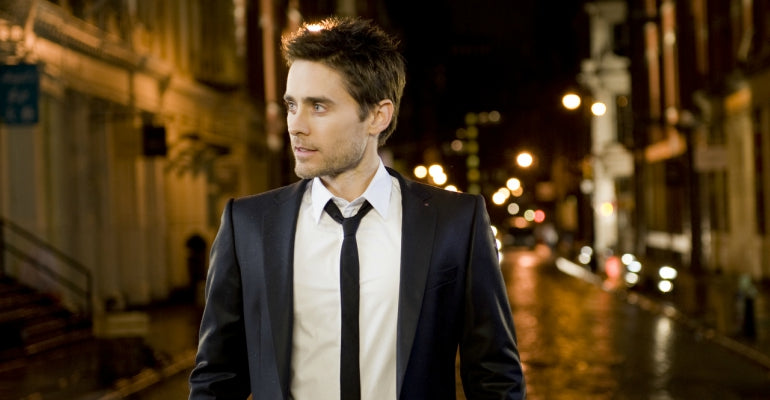 jared leto black suit white shirt black tie mens street style