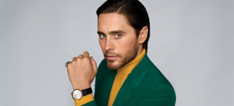 jared leto gq green blazer yellow turtle neck jumper mens street style
