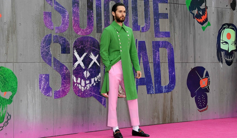 jared leto green gucci coat pink gucci trousers suicide squad mens street style