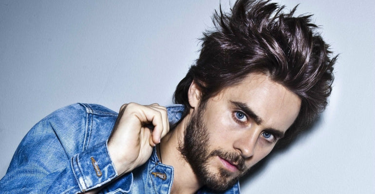 jared leto spiky hair denim jacket mens street style