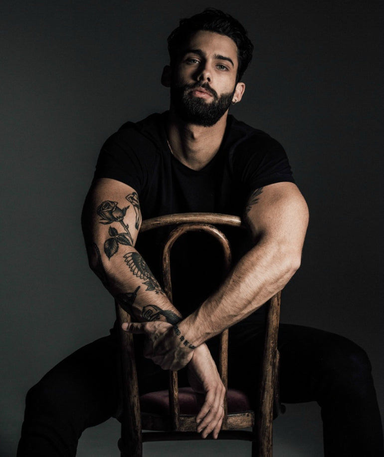 jimmy launay model black t-shirt black jeans mens street style