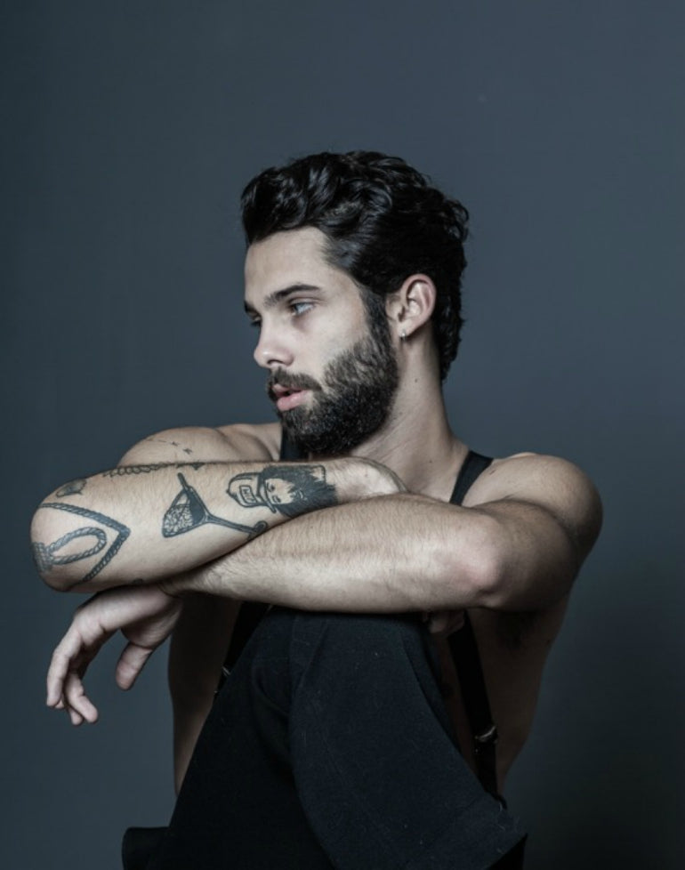 jimmy launay model black vest t shirt mens street style