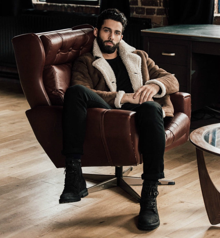 jimmy launay model brown shearling jacket black jeans mens street style