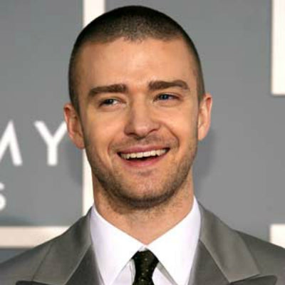 justin timberlake shaved head and grey suit mens