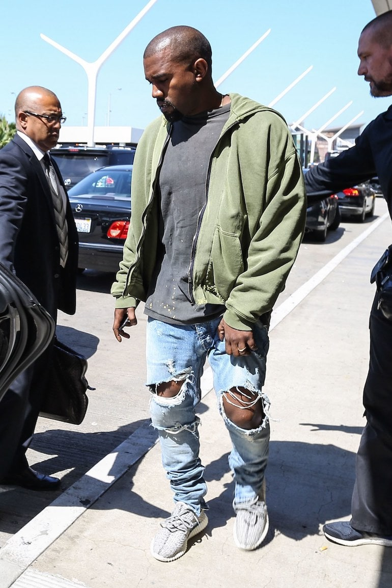 kanye west distressed jeans