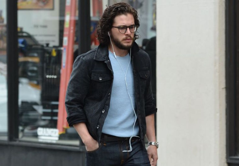 kit harrington black denim jacket blue jeans brown boots