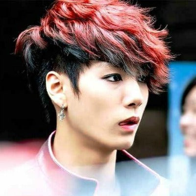 korean mens hair pink k pop