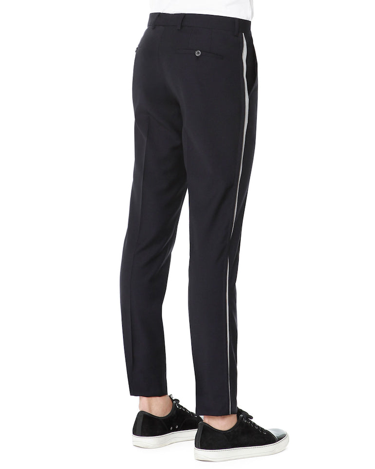 lanvin side stripe trousers mens