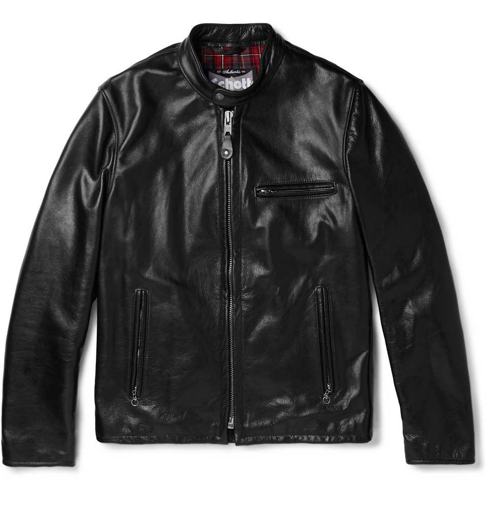 THE IDLE MAN Leather Café Racer Jacket Black Mens
