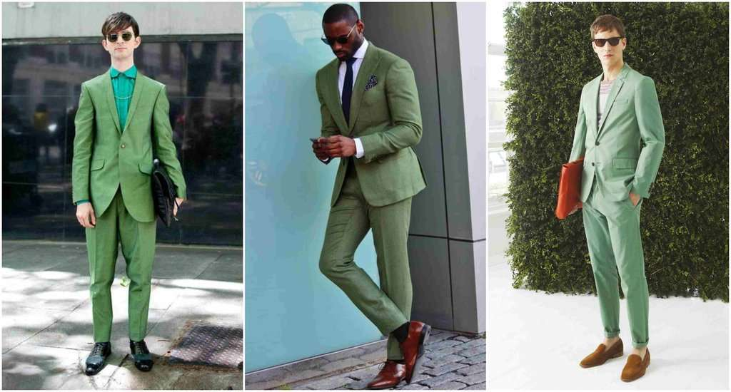 light green suits mens street style