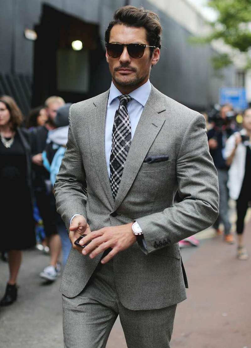 light grey blazer look men