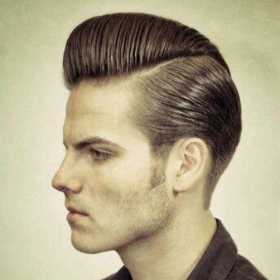long sideburns with pompadour hair mens