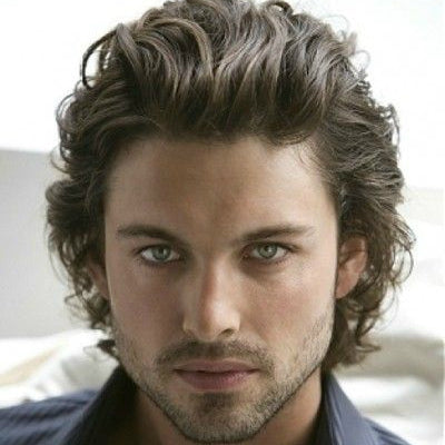 slick back curly hair for mens