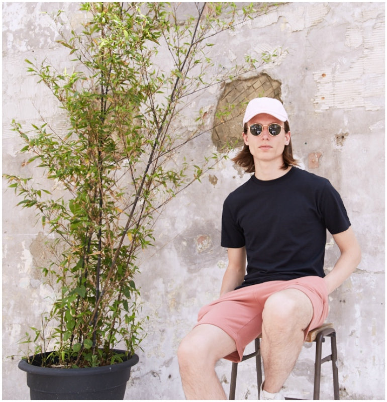 d6b0e42a3fb8 lookbook mens summer style black tshirt pink jersey shorts pink cap  shopthelook