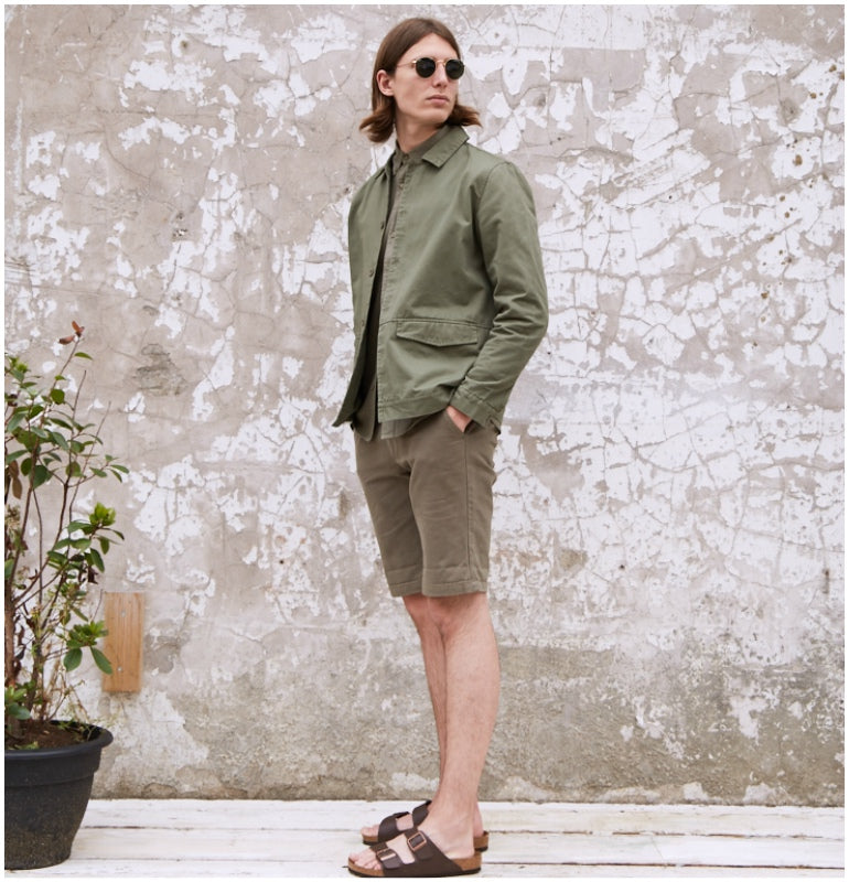 7be23a18b3ef lookbook mens summer style utility jacket green chino shorts brown  birkenstock shopthelook