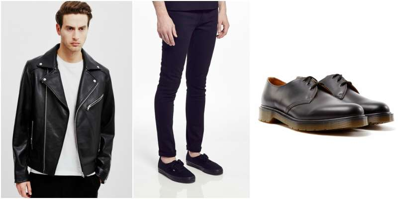 low scoop neck tshirt look two dr martens the idle man leather jacket
