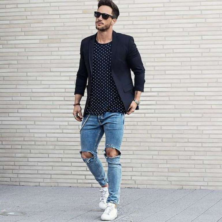 magic fox ripped jeans navy blazer mens street style