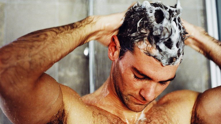 man washing hair mens shampoo