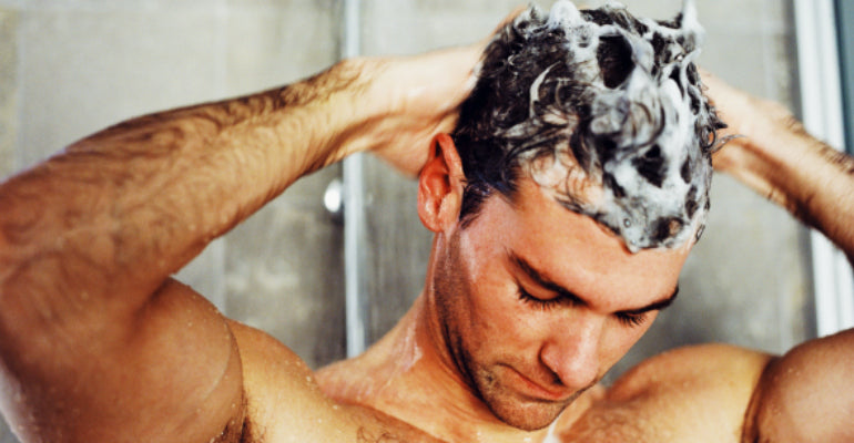 man washing hair