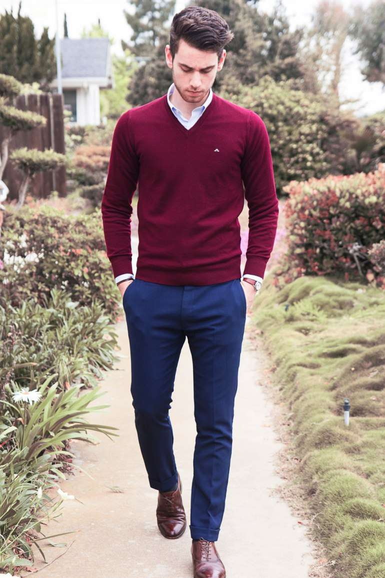 man-wearing red jumper with shirt