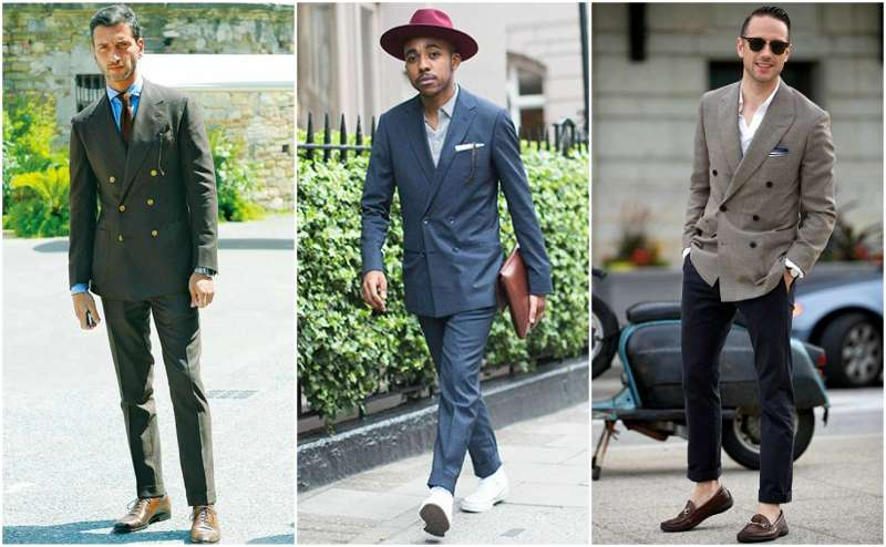men in double breasted suit streetstyle