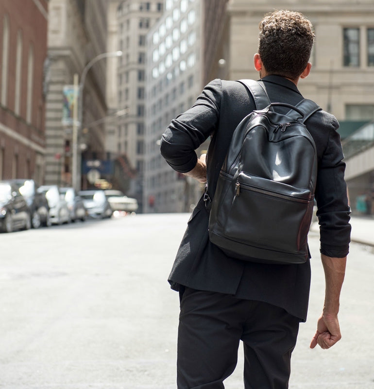 men-leather-backpack-black-suit-street-style