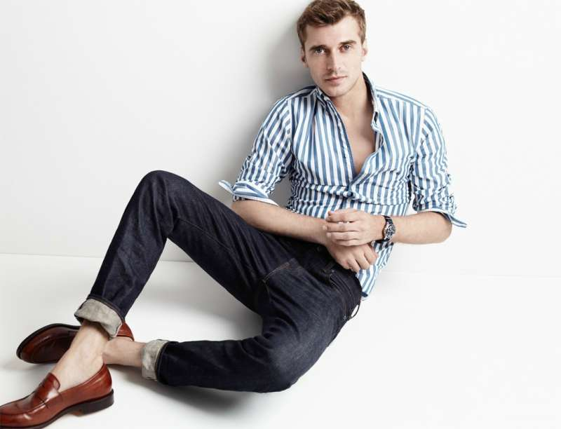 men shoes jeans striped shirt outfit