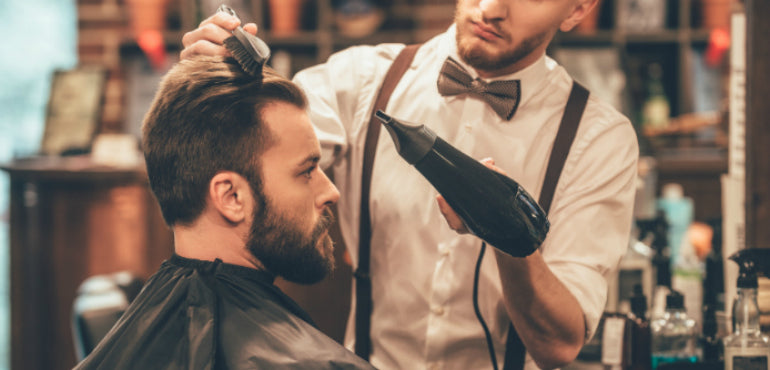 men styling hair