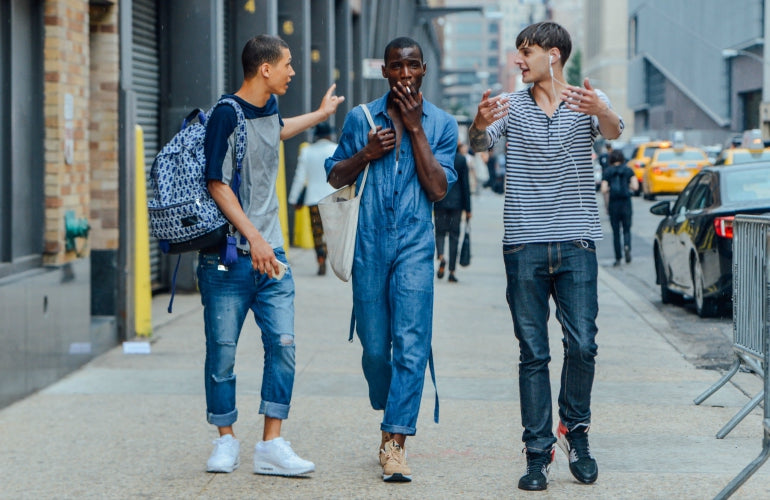 men wearing jeans street style