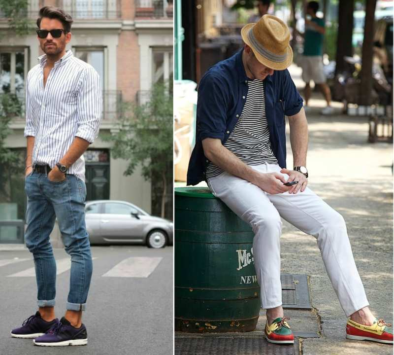 men with rolled sleeves street style