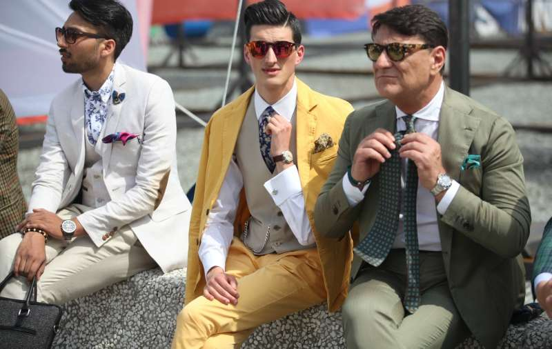 men with three button suits