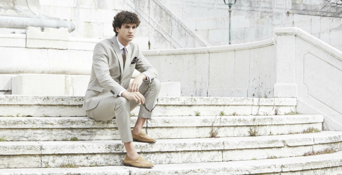 beige suit for men street style