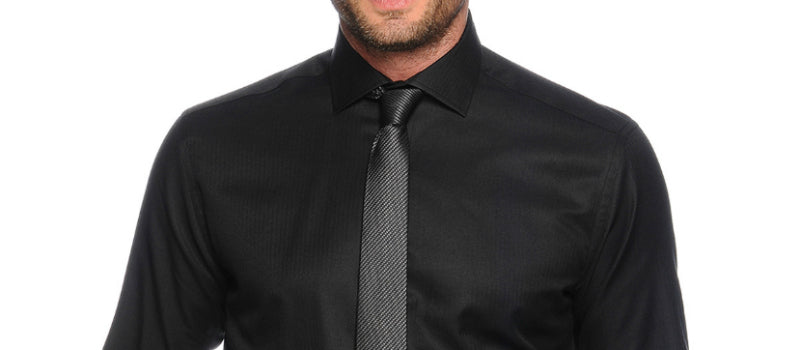 mens black shirt and tie