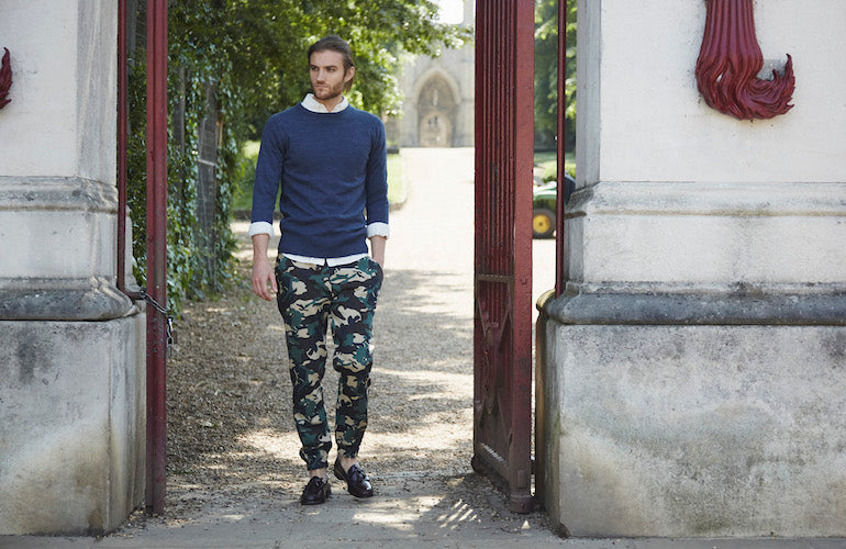 mens blue jumper camouflague trousers loafers