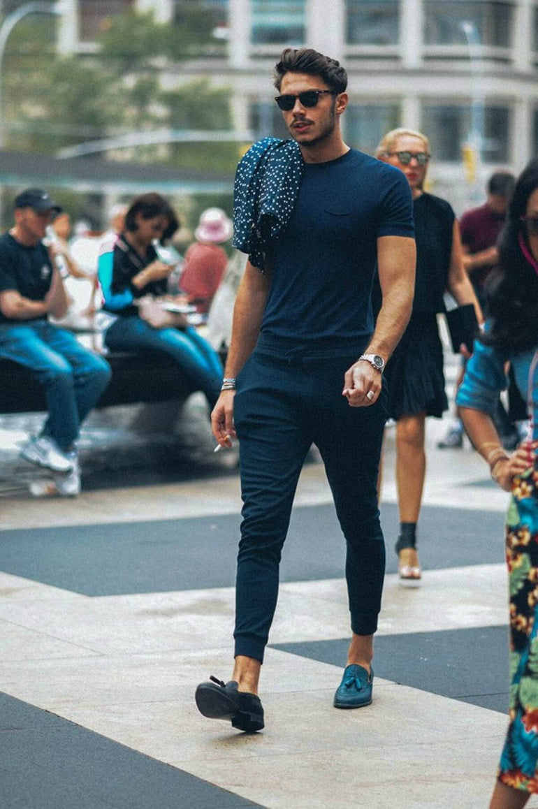 mens-blue-navy-t-shirt-chinos-loafers-sunglasses-street-style