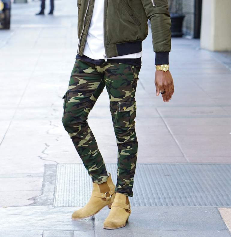 mens bomber jacket camo trousers chelsea boots