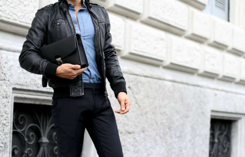 black leather jacket blue shirt jeans mens
