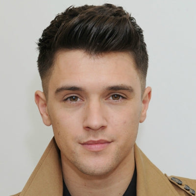 mens brown short pompadour hairstyle
