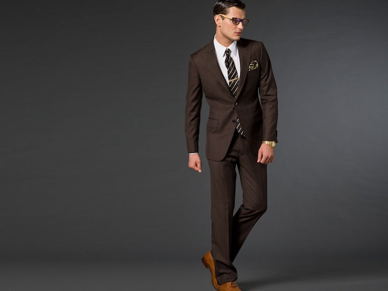 mens brown suit wedding winter