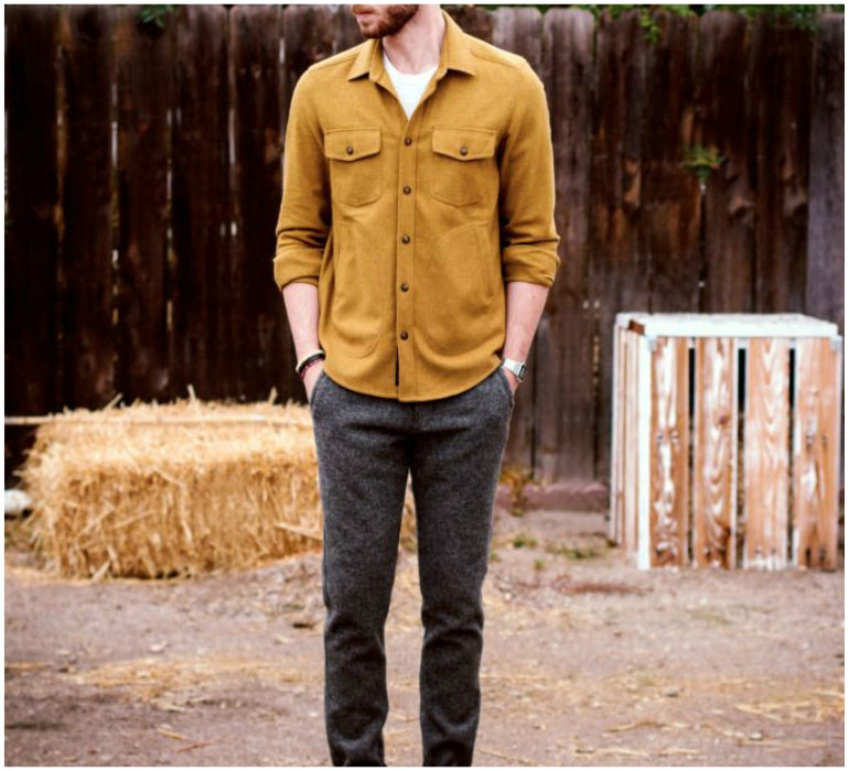 mens brown trousers yellow shirt style